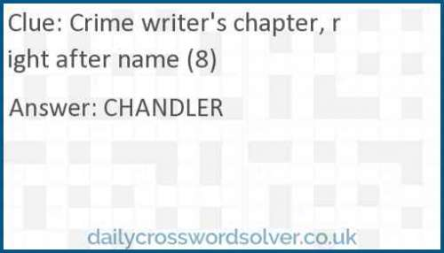 Crime writer's chapter, right after name (8) crossword answer