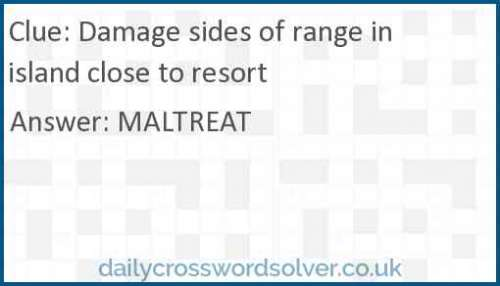 Damage sides of range in island close to resort crossword answer