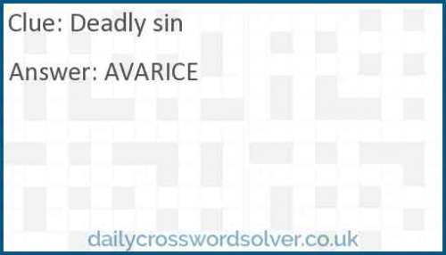 Deadly sin crossword answer