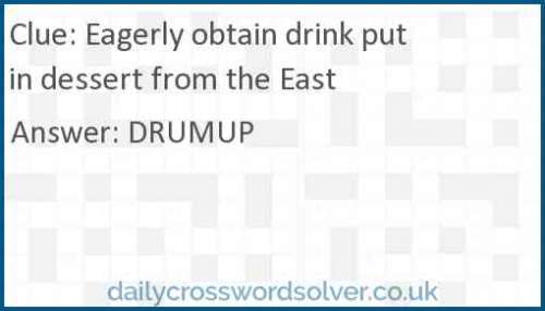 Eagerly obtain drink put in dessert from the East crossword answer