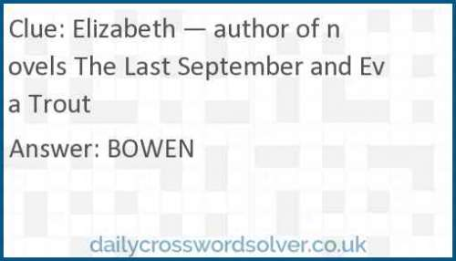 Elizabeth — author of novels The Last September and Eva Trout crossword answer