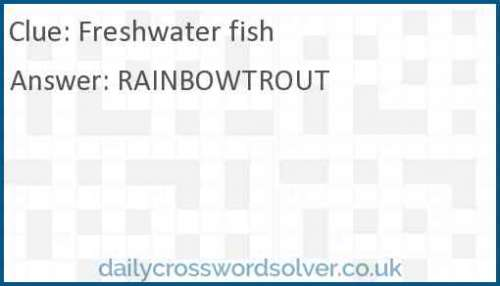 Freshwater Fish Crossword Answer Solutions De Jeux