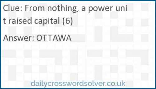 From nothing, a power unit raised capital (6) crossword answer