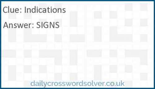 Indications crossword answer