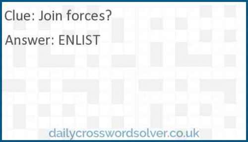 Join forces? crossword answer