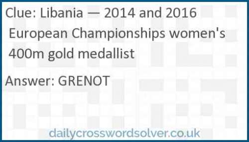 Libania — 2014 and 2016 European Championships women's 400m gold medallist crossword answer