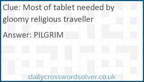 Most of tablet needed by gloomy religious traveller crossword answer