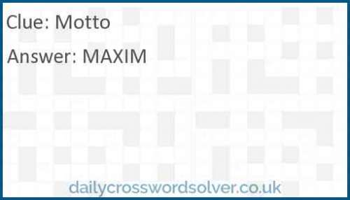 Motto crossword answer