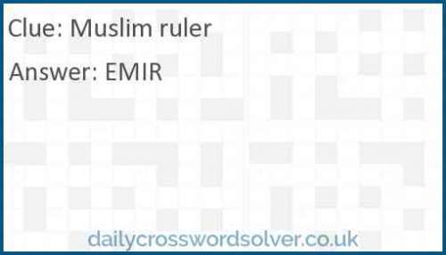 Muslim Ruler Crossword Answer Solutions De Jeux