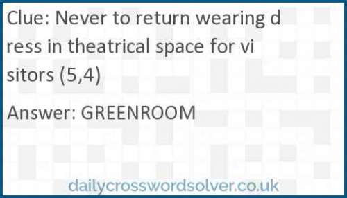 Never to return wearing dress in theatrical space for visitors (5,4) crossword answer