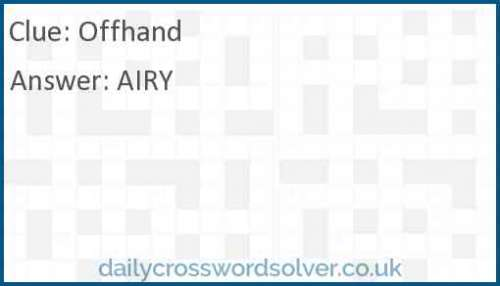 Offhand crossword answer