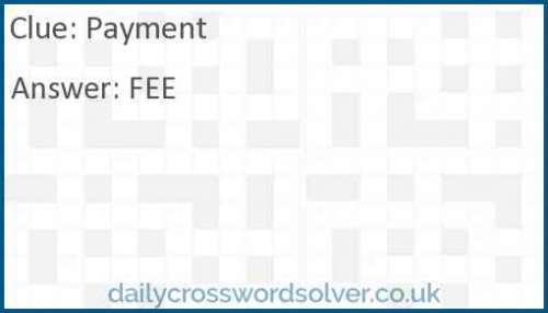 Payment crossword answer