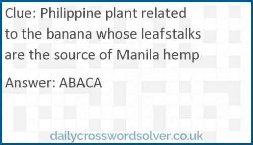 Philippine plant related to the banana whose leafstalks are the source of Manila hemp crossword answer