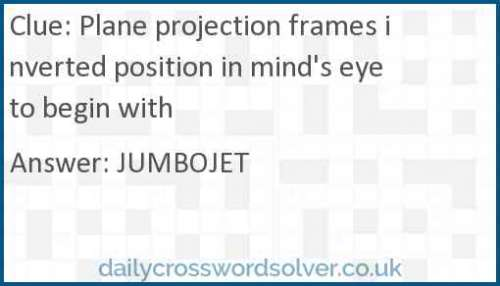 Plane projection frames inverted position in mind's eye to begin with crossword answer