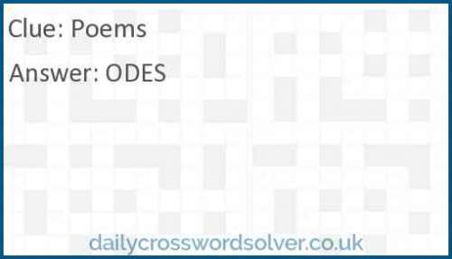 Poems crossword answer