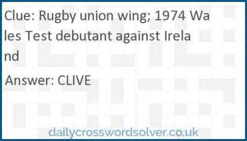 Rugby union wing; 1974 Wales Test debutant against Ireland crossword answer