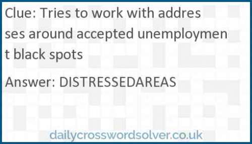 Tries to work with addresses around accepted unemployment black spots crossword answer