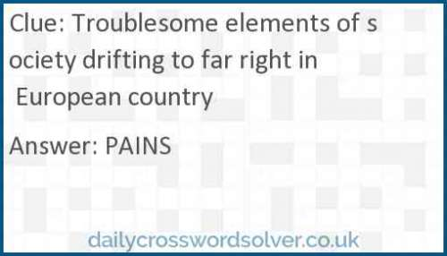 Troublesome elements of society drifting to far right in European country crossword answer