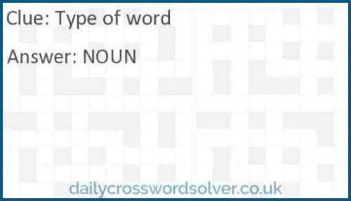Type of word crossword answer