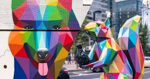 Découvrez Okuda, cet artiste engagé contre le capitalisme qui révolutionne le street art
