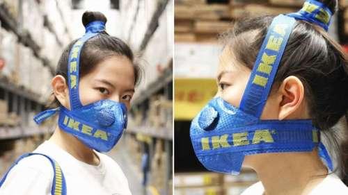 Cet artiste transforme un sac IKEA en masque de protection des plus insolites