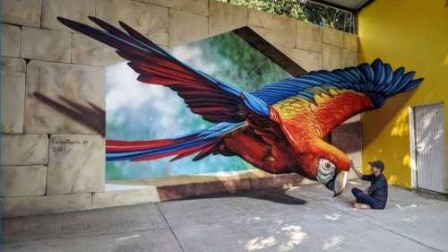 Ce street artiste crée des trompe-l'œil d'animaux géants qui s'emparent des rues
