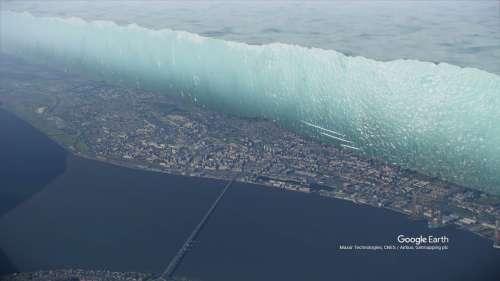 Une gigantesque calotte glaciaire surplombe une ville écossaise, comme le Mur de Game of Thrones