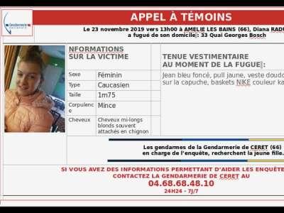 A PARTAGER. Appel à témoins après la disparition d'une jeune fille de 14 ans dans les Pyrénées-Orientales