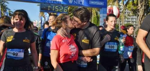 Quand Laura Tenoudji et Christian Estrosi échangent un tendre baiser après avoir couru 10 kilomètres