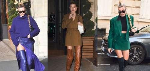 Hailey Bieber fan des cuissardes : elle en a de toutes les couleurs et les affiche à la Fashion Week de Paris