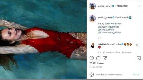 Emma Smet et son maillot de bain rouge décolleté à la Pamela Anderson