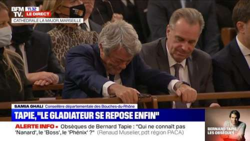 Bernard Tapie : les larmes de Jean-Louis Borloo, effondré après son hommage dans l'église