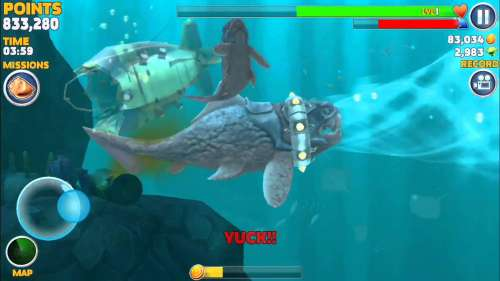 Big Daddy ( Dunkleosteus ) explodes submarine - Hungry Shark Evolution - IOS & Android