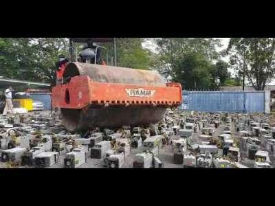 Watch This Steamroller Steamroll 1,069 Bitcoin Mining Rigs