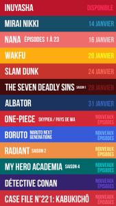 Les anime Slam Dunk, Nana, Albator, Wakfu et d'autres arrivent en janvier chez ADN