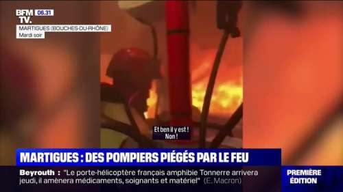 Incendie de Martigues: les images impressionnantes d'un camion de pompiers pris au piège par les flammes