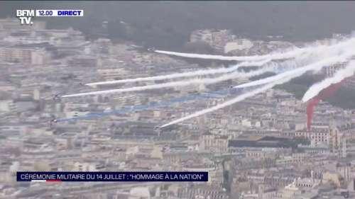 14-Juillet: la patrouille de France dessine un panache blanc dans le ciel de Paris pour honorer le personnel soignant