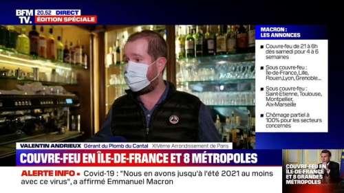 La colère d'un restaurateur parisien en apprenant la mise en place d'un couvre-feu à 21h