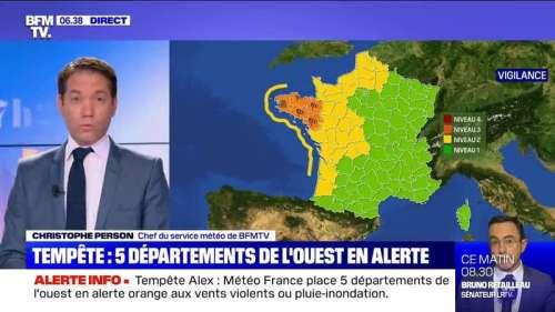 Tempête Alex: Météo France place 5 départements de l'ouest en alerte orange aux vents violents ou pluie-inondation