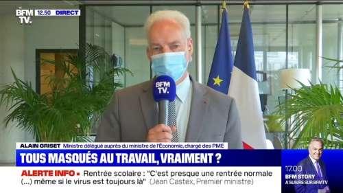 Masque au travail: le ministre chargé des PME Alain Griset estime qu'