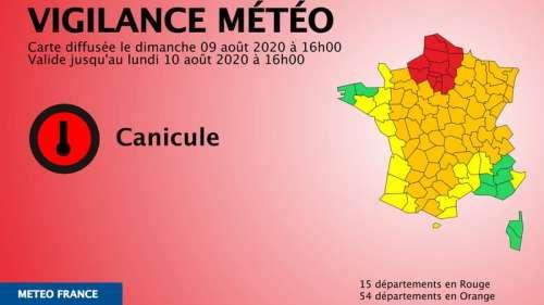 Canicule: 15 départements placés en vigilance rouge, 54 en orange par Météo France