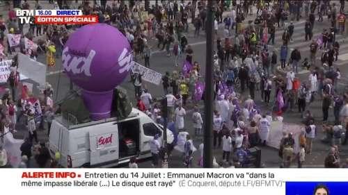 14 juillet: une manifestation de soignants se déroule place de la Bastille