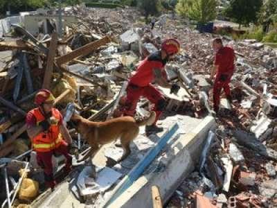 Chantier de démolition au Garros : un terrain de jeu idéal pour les chiens-pompiers d'Auch