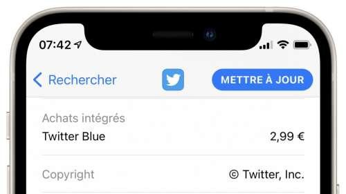L'abonnement Twitter Blue à 2,99€ s'affiche sur App Store