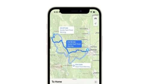 Apple Plans indique les incidents météo sur vos trajets avec iOS 15