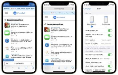 Bêta 6 d'iOS 15 et d'iPadOS 15 : encore une modification pour la barre URL de Safari