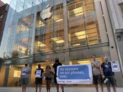 Manifestations devant les Apple Store contre l'analyse des photos iCloud