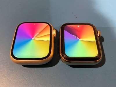 Un comparatif photo de la nouvelle taille d'écran de l'Apple Watch 7