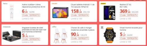 Super code promos du jour avec 100 Tablettes Chuwi, 100 Realme GT, 100 Montre Smael et 100 lunettes de soleil…