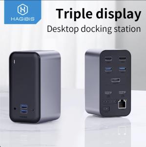 Station d'accueil USB-C Hagibis avec Triple affichage ecran HDMI et Display port, Type C,USB 3.0, HUB RJ45, 3.5mm, PD, pour PC, Windows et MacOS